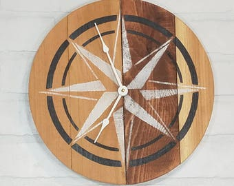 Round Wall Clock - Natural Wood with B&W Nautical Star