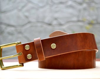 "English Tan Horween Dublin leather belt, 1.5"" width 