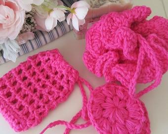 Pink Bath Spa Set, Crochet Bath Pouf, Soap Saver, Facial Scrubbies, Washcloths, Handmade Bath Gift, Housewarming Gift, Bath Accessories