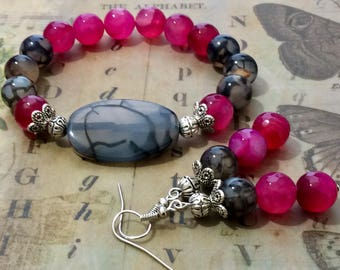 Pink Agate Bracelet, Multicolor Bracelet