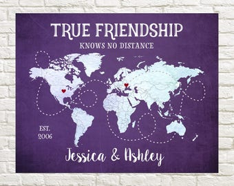 Best Friend Map, Long Distance Friendship Map, Friends moving away, World Map, Moving abroad,  Friend Moving Away, Distance, True Friendship