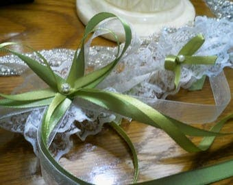 Olive green and white lace wedding garter