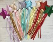 glitter star fairy wands,  partywands princess wands wedding wands