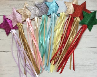 glitter star fairy wands,  partywands princess wands wedding wands