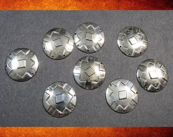 Embellishments - Silver Metal 1 inch Round Ornaments. Set of 8 for leatherwork, jewelry, or embellishing.  #CRAFT-026