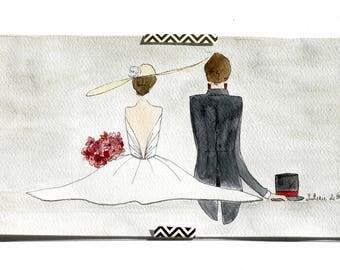 Wedding, gray, half A3 Watercolour Painting.