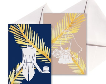 Lot 2 folded cards wedding, white envelopes.