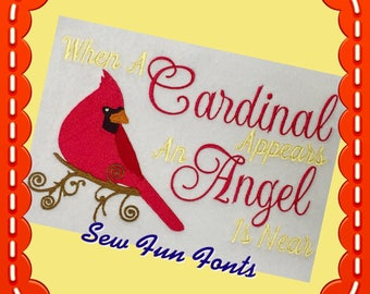 Cardinal Appears An Angel Is Near, 2 Sizes, Embroidery Saying, Reading Pillow Saying, Subway Art, Machine Embroidery Design INSTANT DOWNLOAD