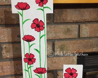 Poppies Wood Letter L Doorhanger
