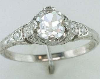 Vintage Antique Victorian .94CT Old Mine Cut Diamond Platinum Engagement Ring