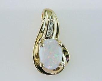 High Quality Fiery Opal Diamond 14K Yellow Gold Pendant Necklace