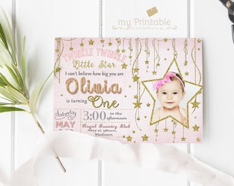 Twinkle Twinkle Little Star Birthday Invitation / Digital Printable Invite for Kids / first Party / DIY 1st