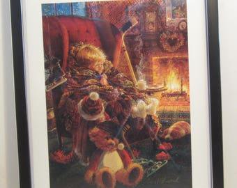 "Bradford Exchange Art Print Lithograph Framed - Toasty Warm : by Stewart Sherwood 11"" x 14"" 1997 Hockey"