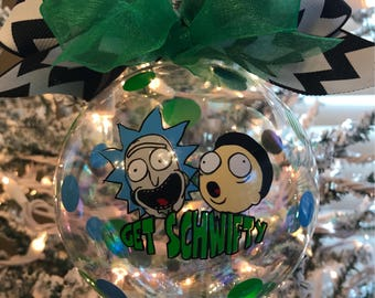 """Custom Hand decorated Rick and Morty inspired 4"""" glass Christmas ornament Get Schwifty"""