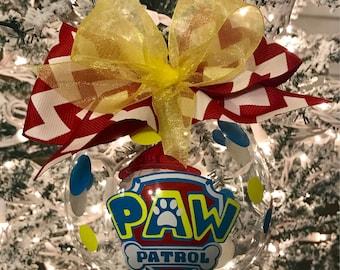 "Custom Hand Decorated 4"" Paw Patrol inspired Marshall Christmas ornament."