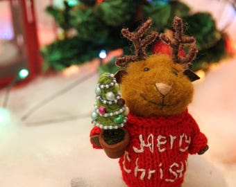 needle felted christmas deer in sweater with christmas tree, winter deer,  felted mouse, needle felted