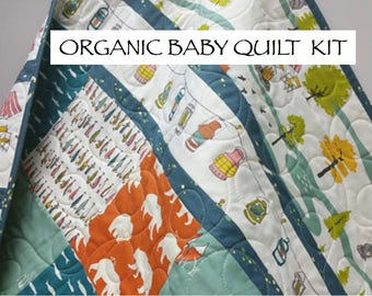 Organic Baby Quilt Kit, Camping Fishing Theme, Nursery Quilting Cotton, Pre-cut Squares,  Birch Ships, Outdoorsy, Lures, Woodland,Baby Boy