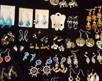 Lot of Earrings (97 Pairs) for Resale or Repurposing