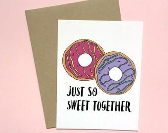 So Sweet Together, Love Card, Anniversary Card, Valentines Day Card, Wedding Card, Girlfriend Card, Long Distance Card, Donut Card,Junk Food