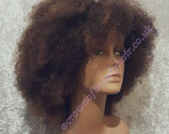 FREE SHIPPING,100% Human Hair,Afro Kinky Lace Wig with Tints, Highlights, Subtle Highlights