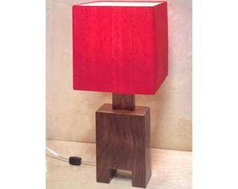 """Modern walnut table lamp with red silk shade made in Los Angeles """"Totem"""" Square"""
