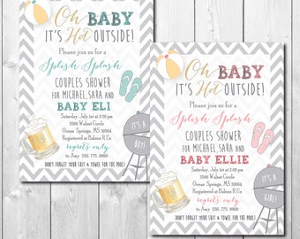 "Couples Baby Shower Invitation..""Splish, Splash""/DIGITAL FILE/printable/wording and colors can be changed"