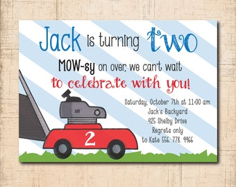 Lawnmower Birthday Invitation, boy birthday, truck, 2nd birthday, lawnmower invite/printable/digital/Wording and age can be changed