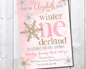 Winter Wonderland Birthday Invitation printable/Digital File/Winter Onderland, pink and gold, gold and pink, little snowflake, glitter