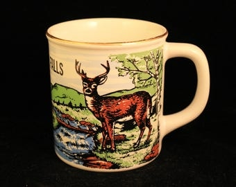 Vintage Blackwater Falls Travel Souvenir Gold Trim Mug Deer Buck Wilderness Collectible Gift