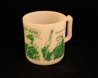 Vintage Robin Hood Milk Glass Child's Mug Cup Green