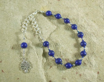 Hera Prayer Bead Bracelet in Lapis Lazuli: Greek Goddess of the Sky and Heavens, Marriage and Fidelity, and Queen of Olympus