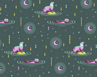 Tula Pink - Spirit Animal - Otter and Chill - Lunar (otters on green) - Free Spirit Fabrics - Fabric By the Half Yard