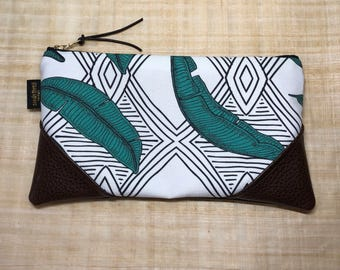 Large Jungle Line Leaf Zipper Clutch / Zip Pouch with Suede Zipper Pull or Leather Wristlet Strap