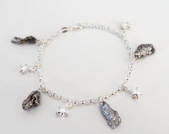 Sterling Silver Star & Meteorite Space Bracelet