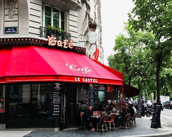 Paris, Cafe, Parisian cafe, red, Paris streets, cafe, Paris photography, Paris Prints, Paris Wall Art, Fine Art Prints, Paris street scene