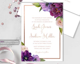 Purple Wedding Invitation / Purple Flowers, Anemone, Peony, Ranunculus, Rose Gold ▷ Printed Heavy Paper {or} Printable