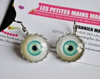 """EARRINGS CABOCHON 2 CM """"YOU HAVE BEAUTIFUL EYES"""""""
