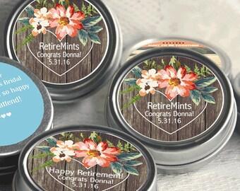 60 Retirement Mint Tins - Retire mints - Floral - Carved Heart - Retirement Favors - Retirement Decor - Retirement Mints - Retired Mints