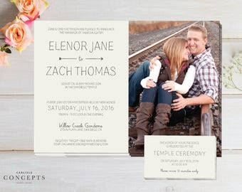 Simple Cream LDS Wedding Invitation with Photo and Temple Inserts, Rustic Cream Wedding, Digital Printable