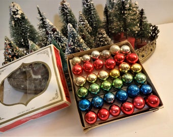 Vintage Shiny Brite Mercury Glass Feather Tree Ornaments in Original Box -  Box of 36 - Miniature Ornaments - Assorted Colors