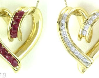 Genuine 1.50ct Diamond & Ruby Reversible 14k Yellow Gold Heart Pendant