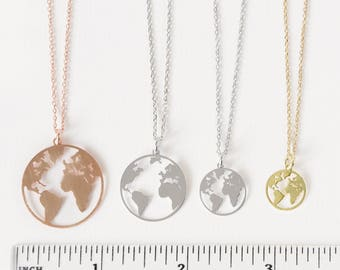 Map necklace etsy earth necklace world map necklace rose world necklace globetrotter necklace rose gold gumiabroncs Image collections