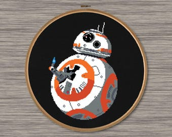 "BB8 Thumb's Up - PDF Cross Stitch Pattern - Inspired by Star Wars ""The Force Awakens"""