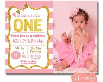 PINK AND GOLD Birthday Invitation, Gold Glitter Birthday Invitation, Pink Birthday Invitation, First Birthday Invitation Girl