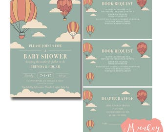 Up Up and Away Shower Invitation, Up Up and Away Baby Shower Invitation, Balloon Baby Shower Invitation