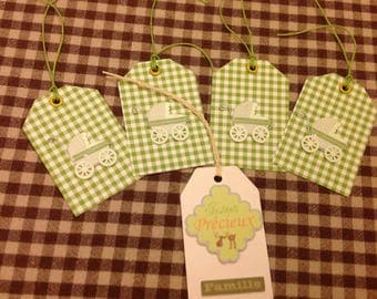 Set of 5 tags with small cradles and precious moments birth