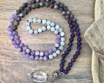 BALANCE MALA Purple Obré Long Knotted Necklace with Amethyst, Charoite and Moonstone, Mala Bead Necklace, Boho Purple Necklace,Yoga Necklace