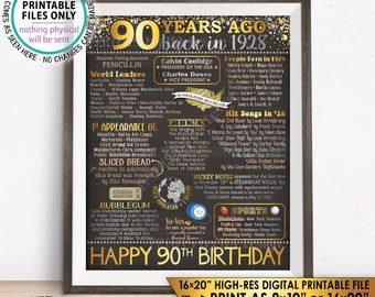 "90th Birthday Gift, Born in 1928 Birthday Flashback 90 Years Back in 1928 B-day, Gold, PRINTABLE 8x10/16x20"" Chalkboard Style Sign <ID>"