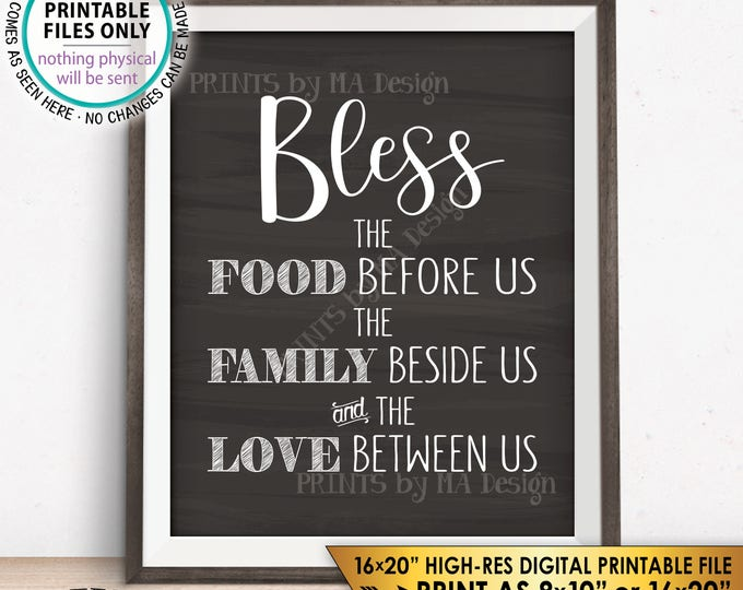 "Bless the Food Before Us The Family Beside Us the Love Between Us Kitchen Wall Decor Chalkboard Style PRINTABLE 8x10/16x20"" Instant Download"