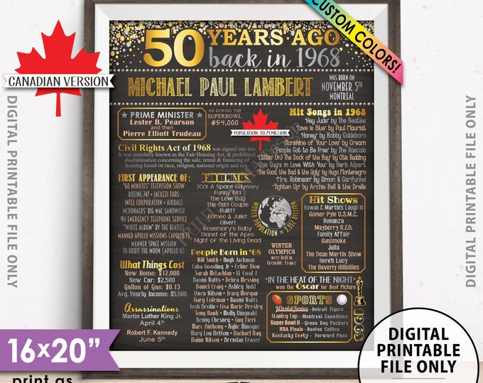 """50th Birthday Gift, 50 Years Ago in CANADA B-day, 1968 Poster Flashback to 1968 Flashback Chalkboard Style PRINTABLE 8x10/16x20"""" 1968 Poster"""